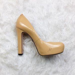 Pour La Victoire Nude Patent Leather Pump Heels 9
